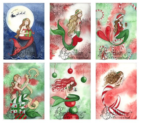Blank Christmas #3 MERMAID Note Cards from Original Watercolors by - blank xmas cards