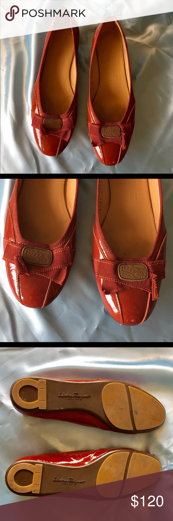 Vintage Ferragamo Burnt Orange Patent Flats 8C GORGEOUS!! Size is 8 C - wide width!! Vintage Salvatore Ferragamo patent leather flats. Color is burnt orange & looks reddish, rust color. Worn only once!!!! Excellent newish condition!! WOW! Will come in a plastic shoebox gift wrapped & a free surprise!🎁🎁🎁 Happy to add additional pics for serious buyers. 😘😘😘 Salvatore Ferragamo Shoes Flats & Loafers