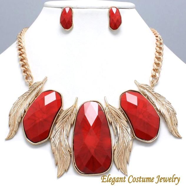 Red Gold Floating Feather chunky Statement Necklace Elegant