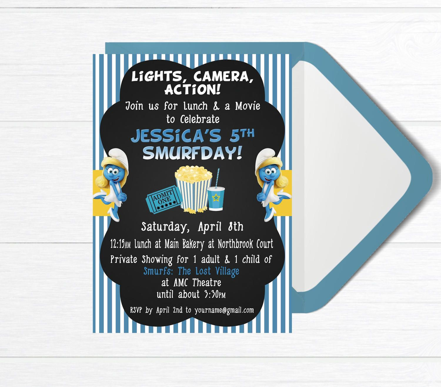 Smurf Invitation Birthday Lunch and Movie Birthday Party