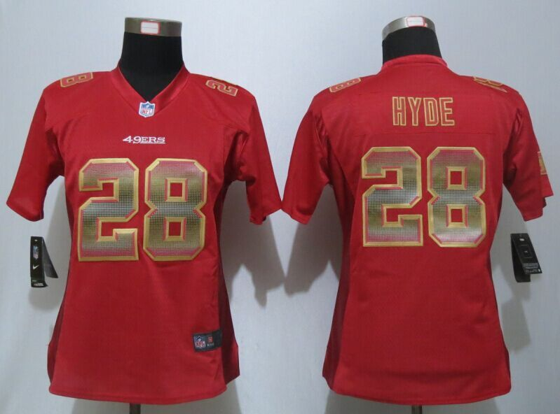 buy online 2add2 bc9f9 Womens San Francisco 49ers 28 Hyde Red Strobe New Nike Elite ...