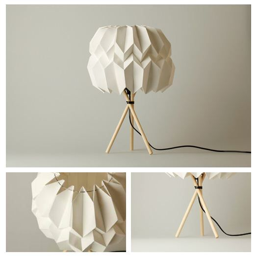 Photo of Table lamp made out of wood and paper, a self-supporting structure. #Lamp #desig…
