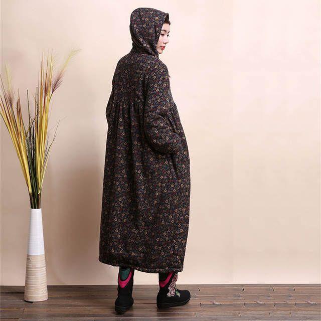 862b61d3d47 Интернет-магазин LZJN модная зимняя куртка с капюшоном китайский стиль  щеткой Женское пальто Mori Girl