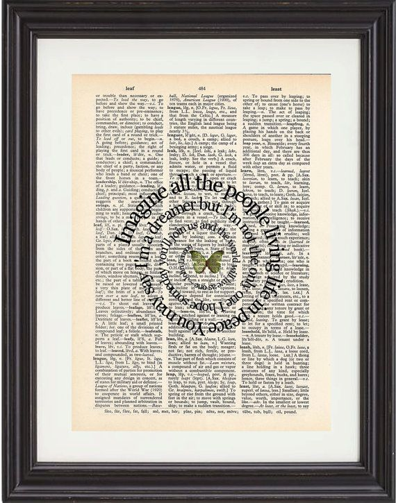 Imagine Song Lyrics Art Print On Vintage Dictionary Book Page - John Lennon - Beatles Music Art on Etsy, $12.00