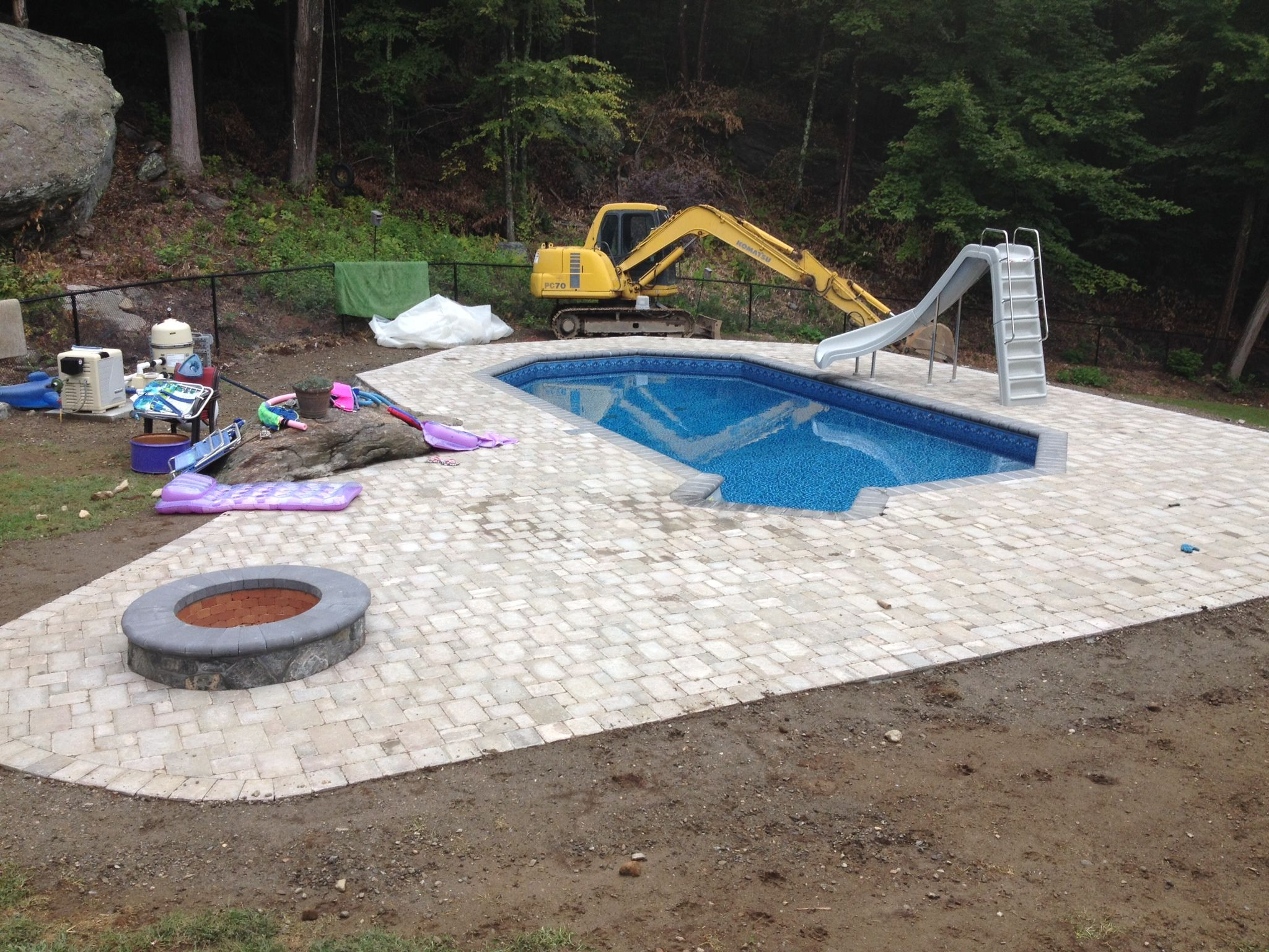 New In Ground Pool W/paver Patio, Bullnose Coping, Fire Pit, Slide And More.
