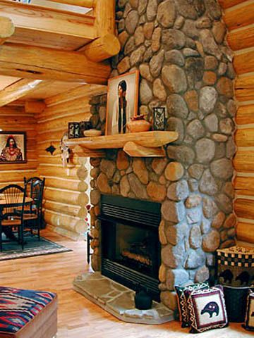 Gallery | Cabin fireplace, River rock fireplaces, Brick ...
