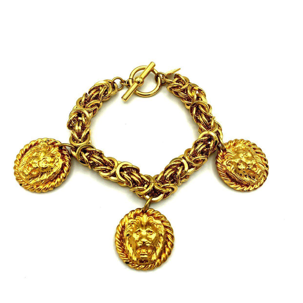 Vintage anne klein charm bracelet classic statement byzantine chain