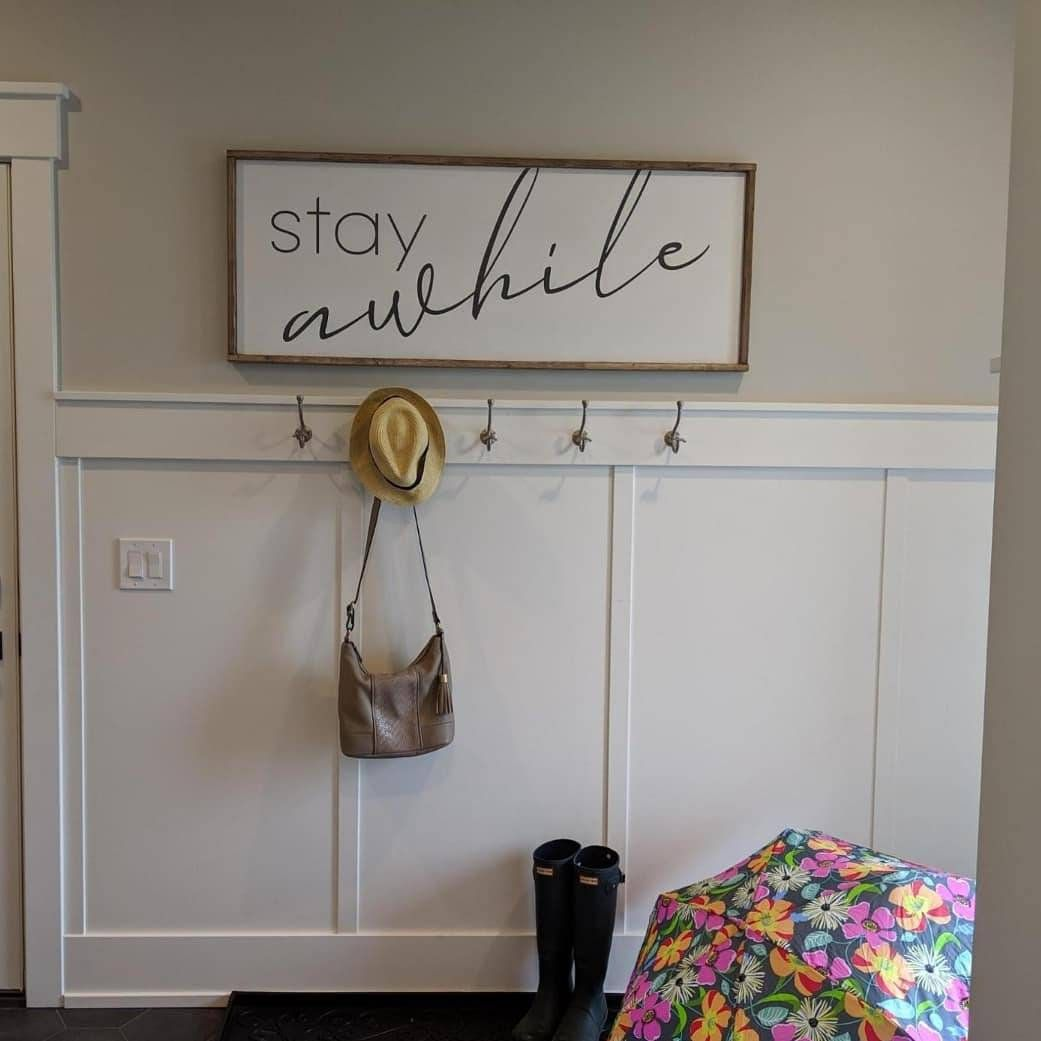 Stay Awhile Large Wooden Sign Entryway Welcome Mudroom Etsy Wooden Signs Home And Living Wooden