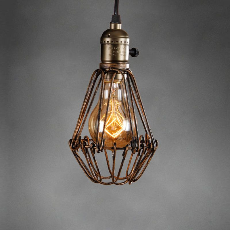 retro vintage industrial lamp covers pendant trouble light bulb guard wire ca. Black Bedroom Furniture Sets. Home Design Ideas
