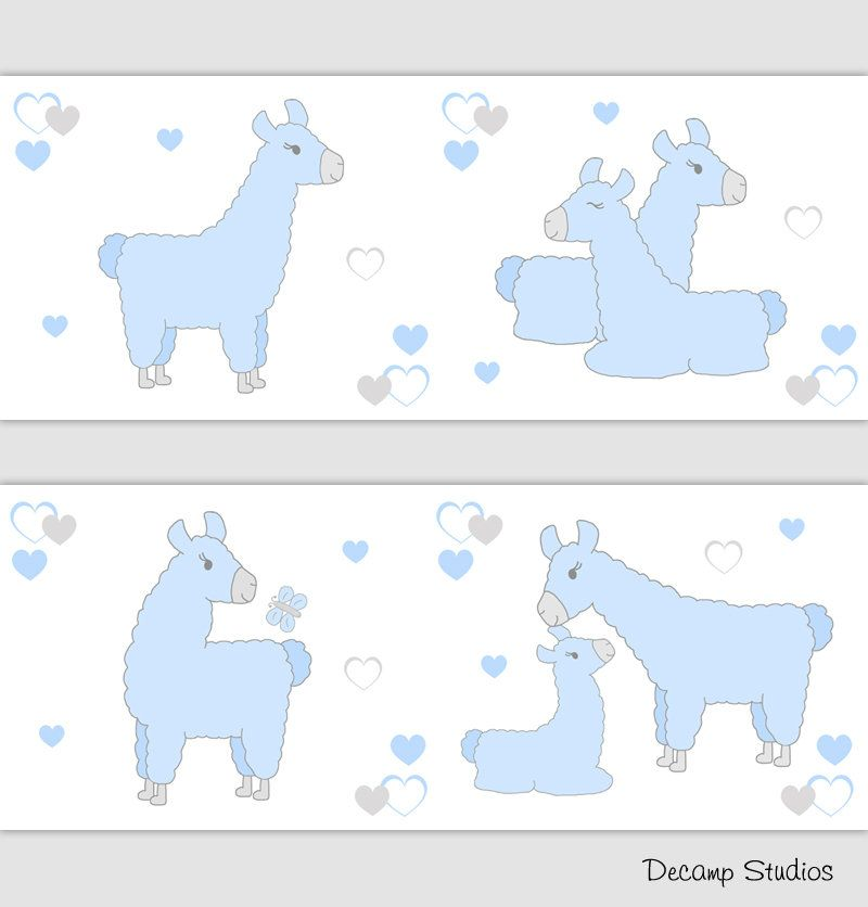 Best Llama Baby Nursery Boy Blue Gray Wallpaper Border Wall Art Decals Kids Hearts Room Sticker Decor 400 x 300