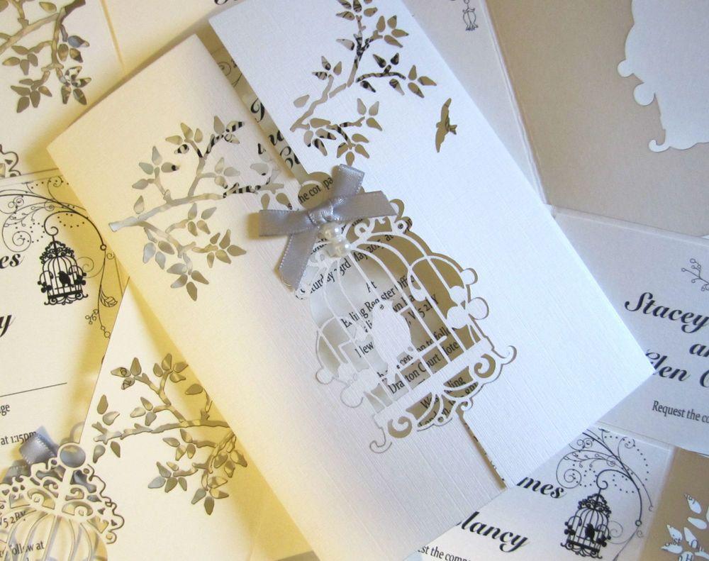 Wedding Invitation Laser Cut Bird Cage, Insert U0026 Envelope (050)