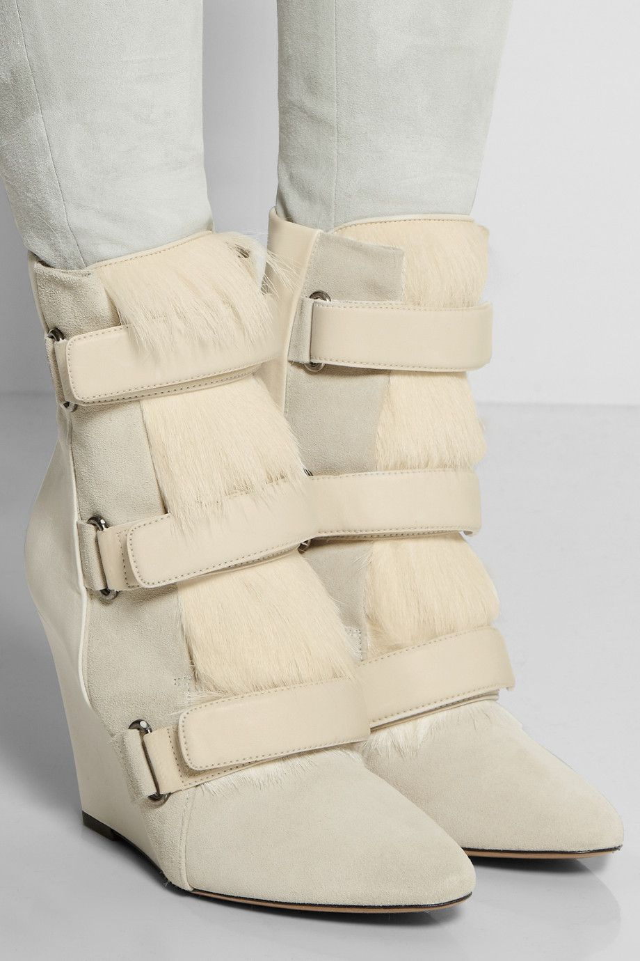 Isabel Marant|Pierce suede, leather and calf hair wedge boots|NET-A-PORTER.COM