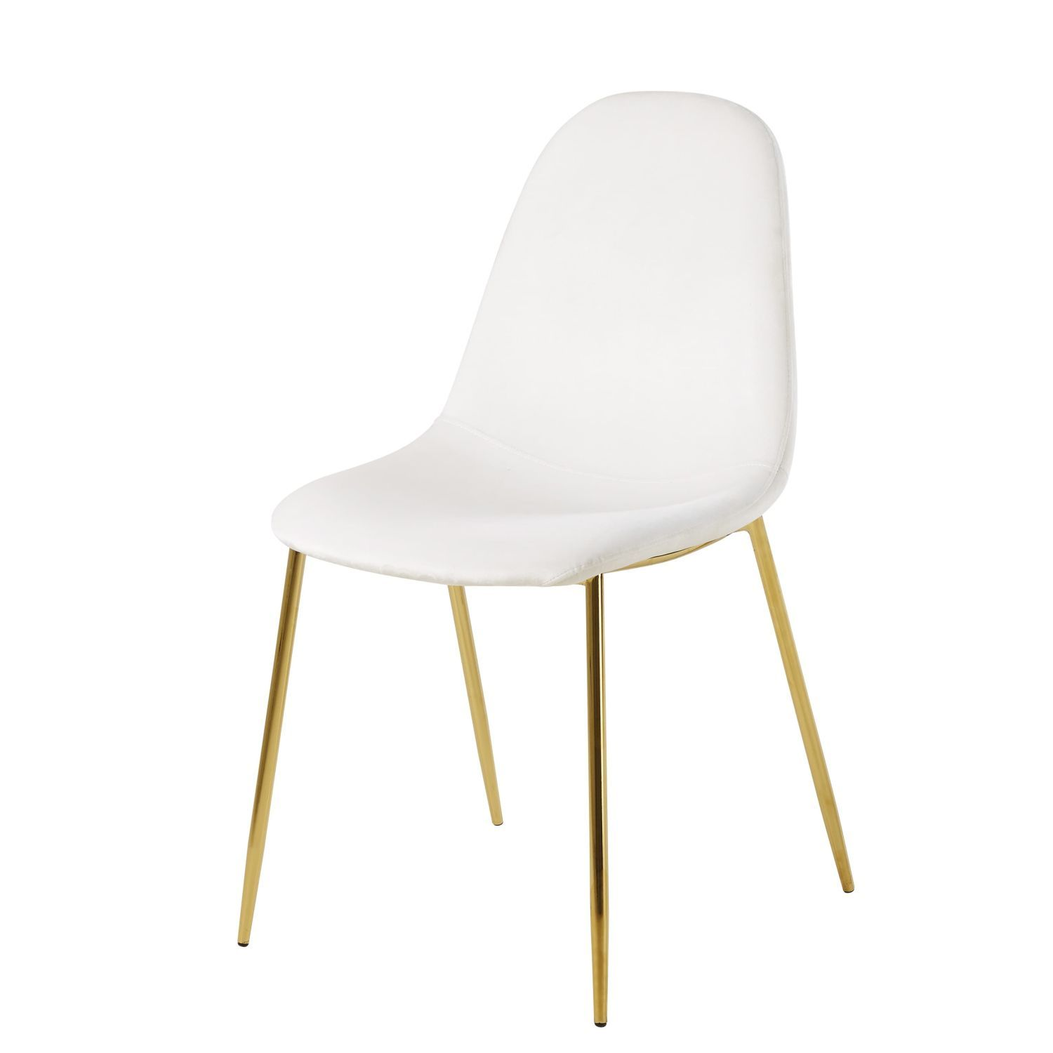 The Clyde White Velvet And Gold Metal Scandinavian Chair Is The Perfect Piece To Add Comfort And Elegance To Your Int Skandinavische Stuhle Stuhle Weisse Stuhle