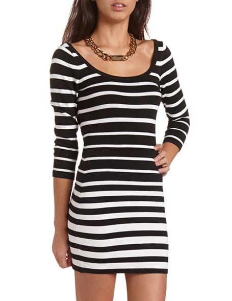 50f113a5bc6 Stripe Knit Sweater Dress  Charlotte Russe