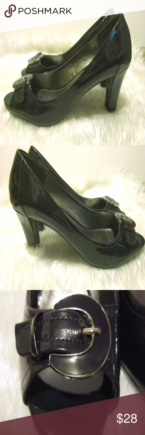 d4bd1c7c9141 COACH AND FOUR Peep Toe Buckle Leather Heel Pumps