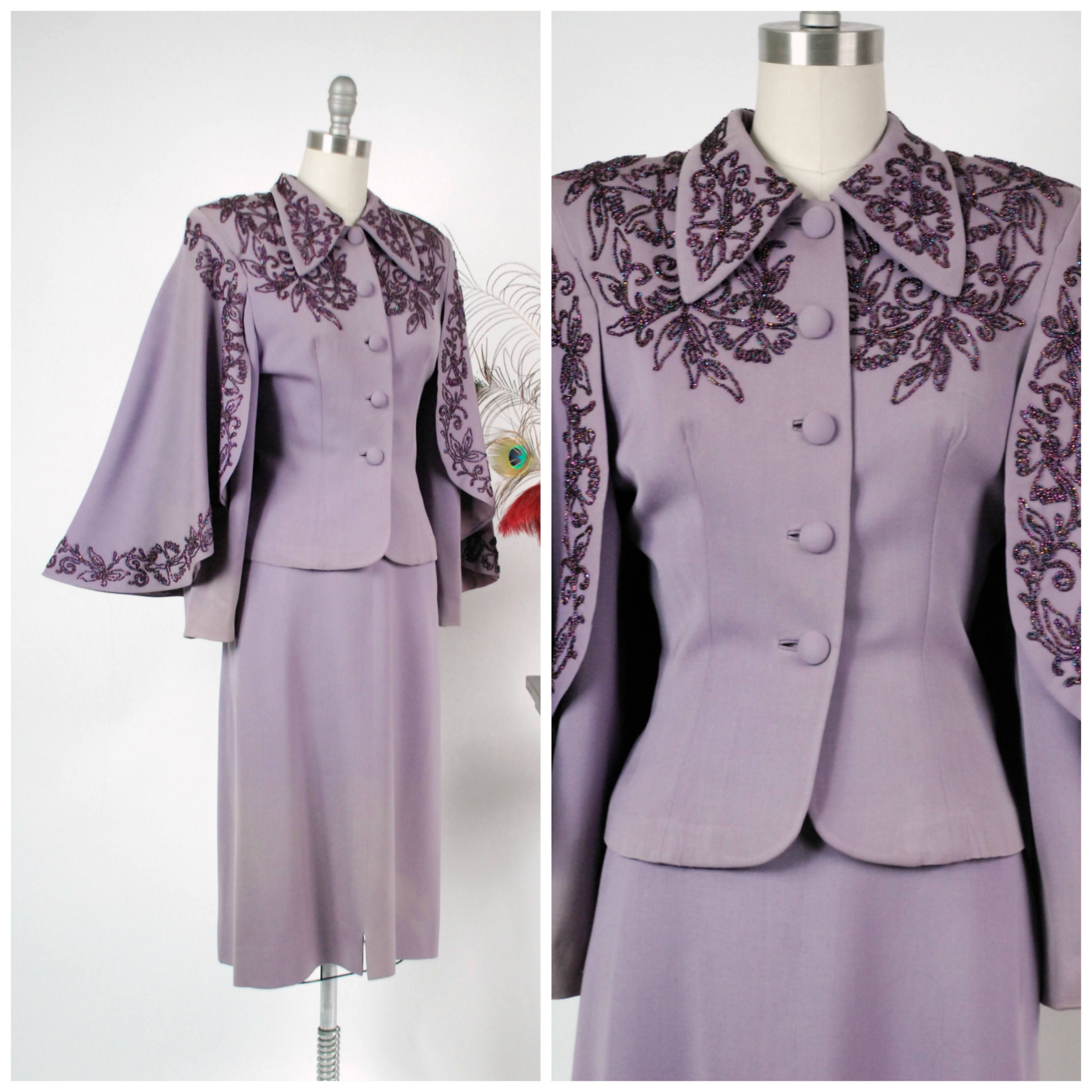 Vintage s dress set rare and exceptional purple beaded s