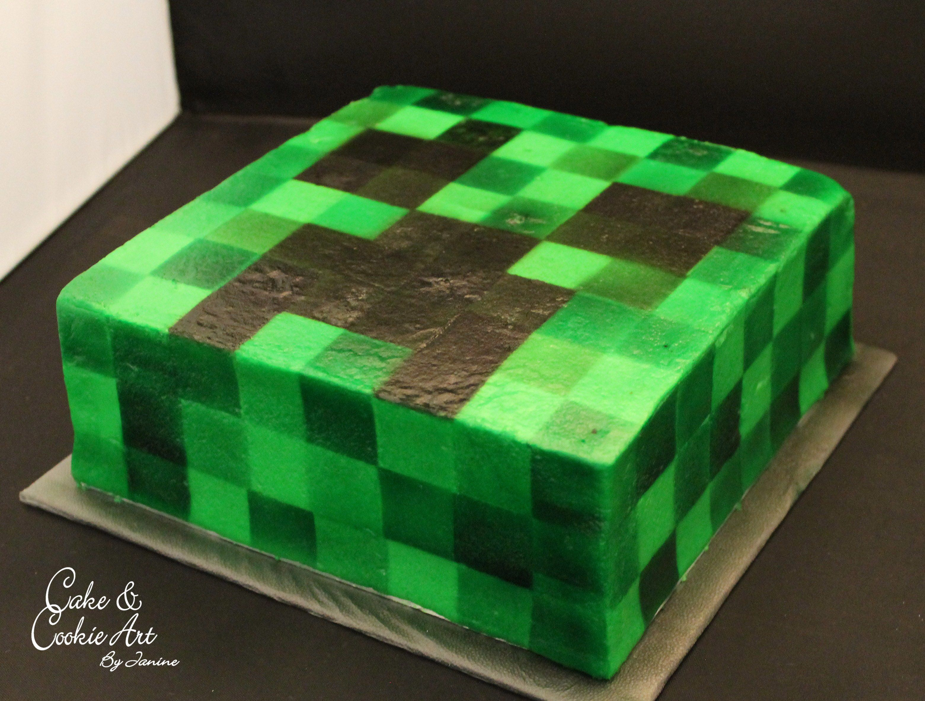 Minecraft Creeper Cake Cakes By Cake And Cookie Art By Janine - Minecraft creeper spielen