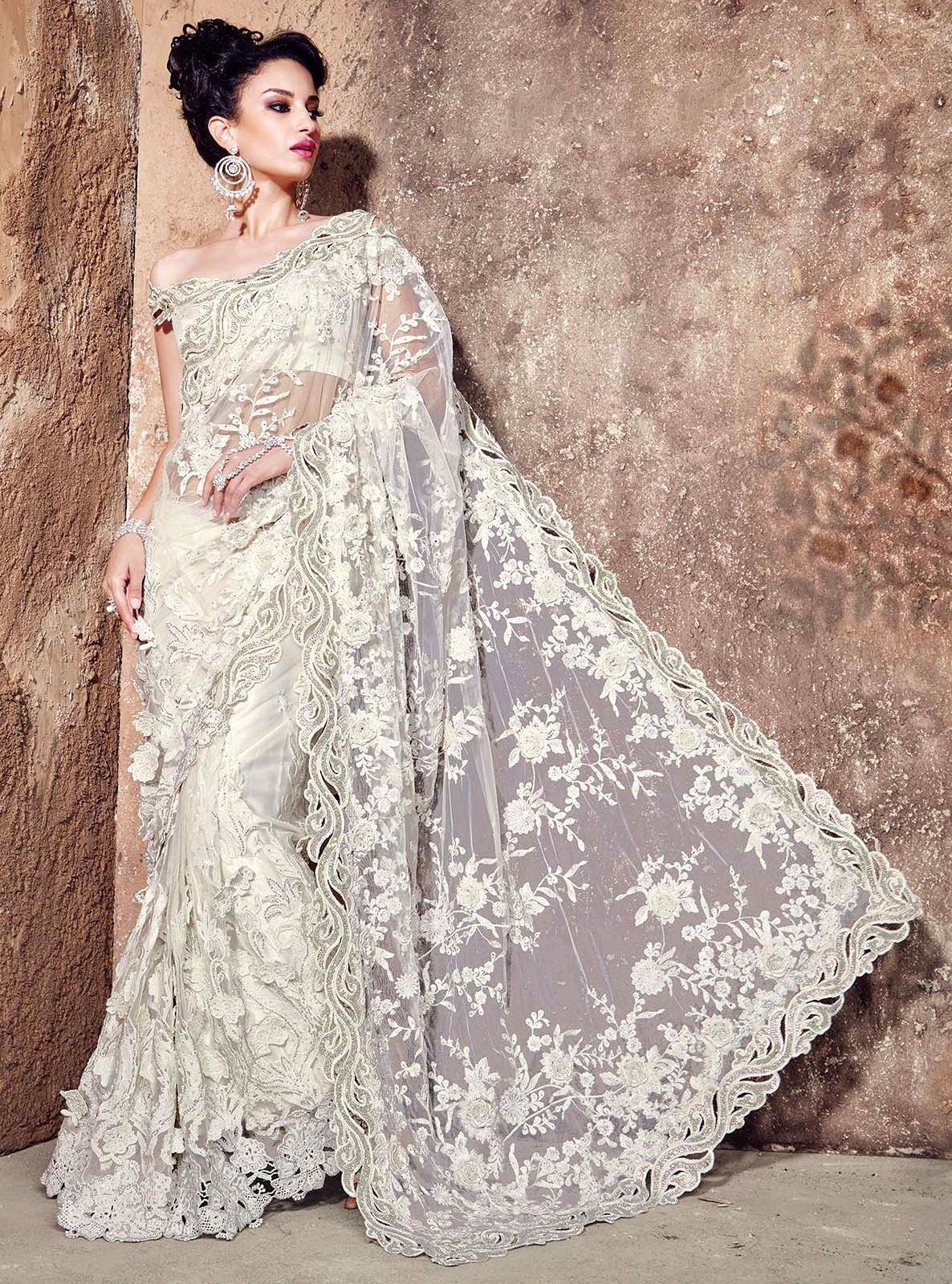 9637c993408810 Buy Heavy Bridal White Net Saree | UK Online Designer Outlet ...