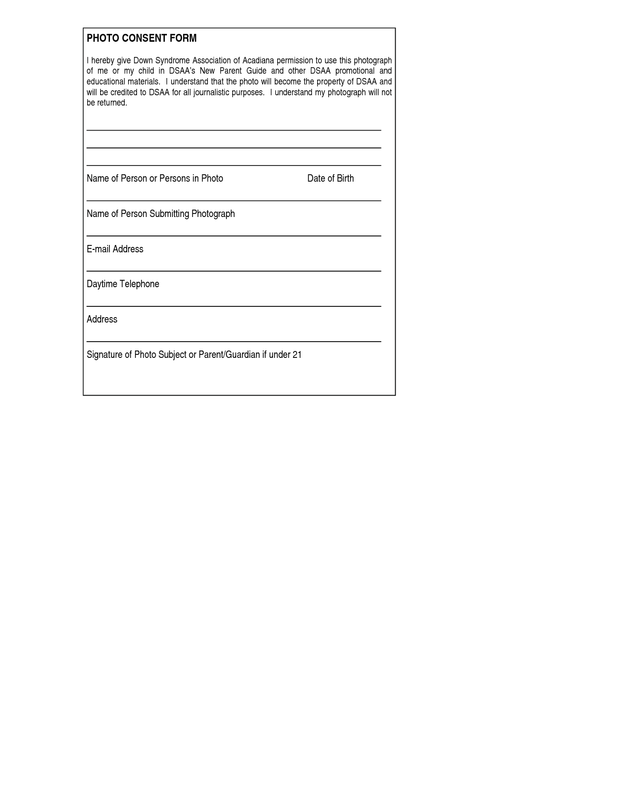 Down syndrome conferenceencyclopedia disease for Photography permission form template