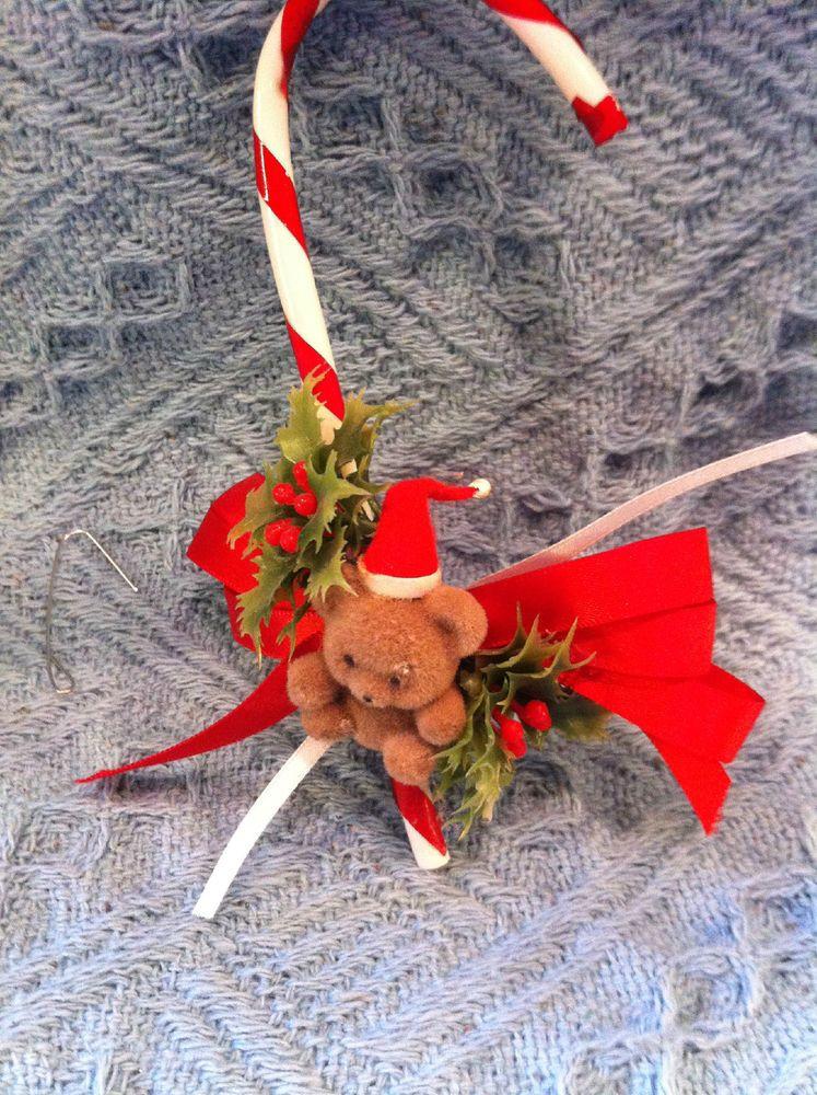 NEW HANDMADE TEDDY BEAR WITH CANDY CANE CHRISTMAS ORNAMENT   | eBay