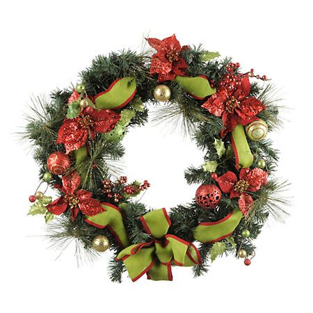 Glittered Poinsettia Pine Wreath | Christmas decorations ... on Kirkland's Spin To Win Iphone id=72241