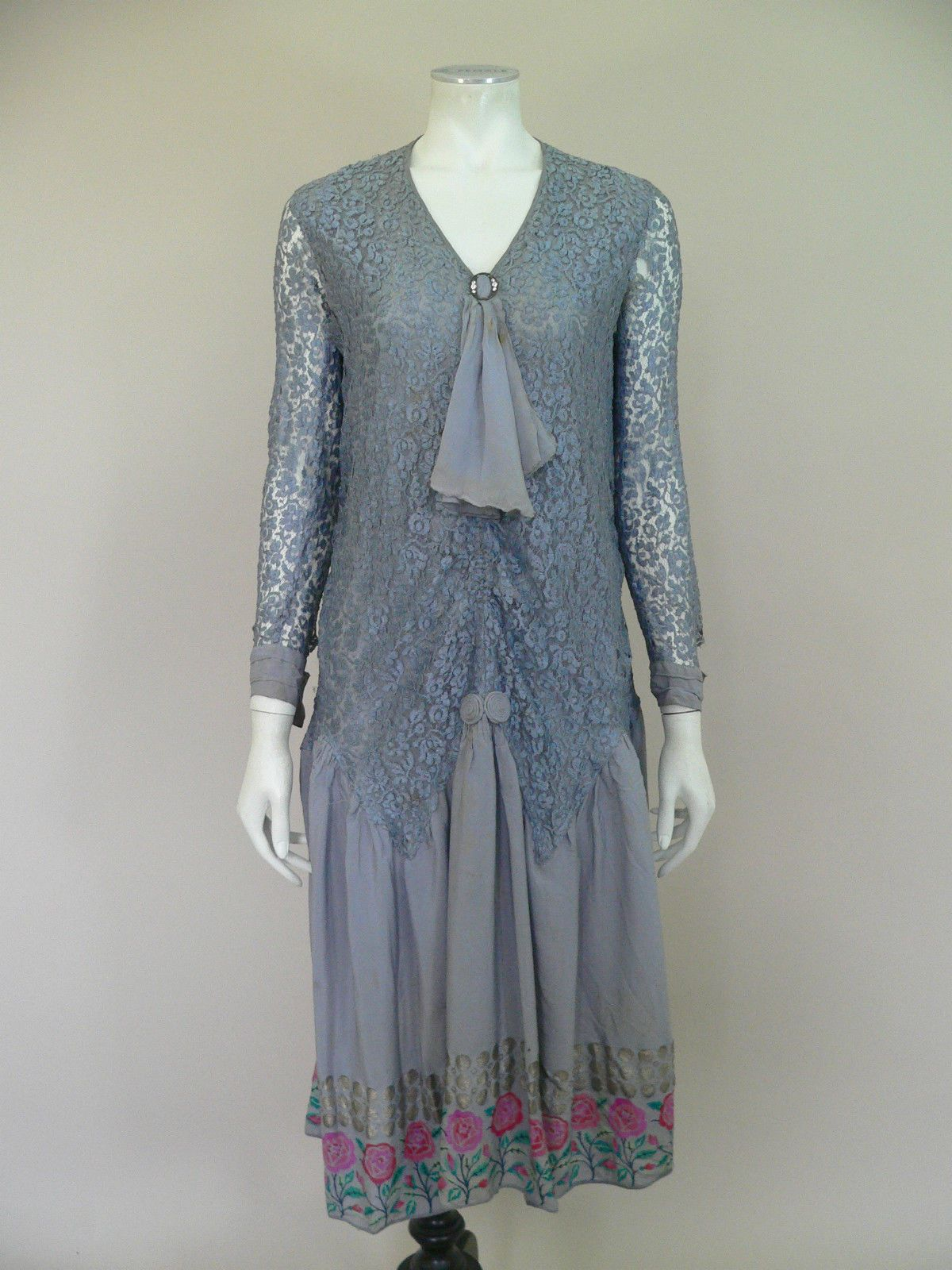 1920 lace dress  Original s lace and silk brocade flapper dress Front CLICK to
