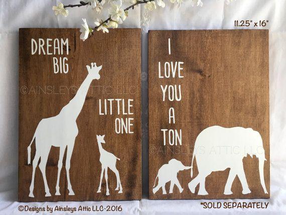 Safari Nursery Wall Art I Love You A Ton Baby By