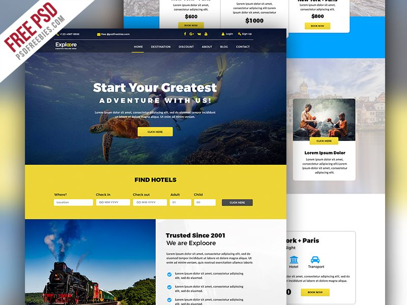 Travel Tour Booking Website Free Psd  Website Psd Templates And