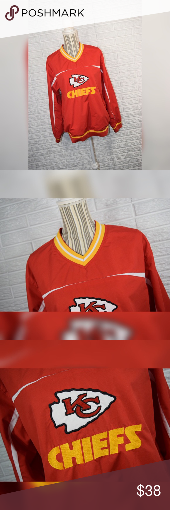 NFL Apparel   Kansas City Chiefs Sweatshirt Red, yellow, and white  for sale