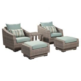 Enjoy cocktails on your patio or an afternoon around the pool with this classic outdoor seating set. This stylish collection features 2 chairs and 2 ottomans with wicker-inspired frames and bliss blue-hued cushions, while the complementing side table offers the perfect spot to rest a tray of canapes or your latest read.    Product: Set of 2 chairs, 2 ottomans, and 1 side tableConstruction Material: Polystyrene extruded faux wood and fabricColor: Bliss blueFeatures:  Suitable for outdoor ...