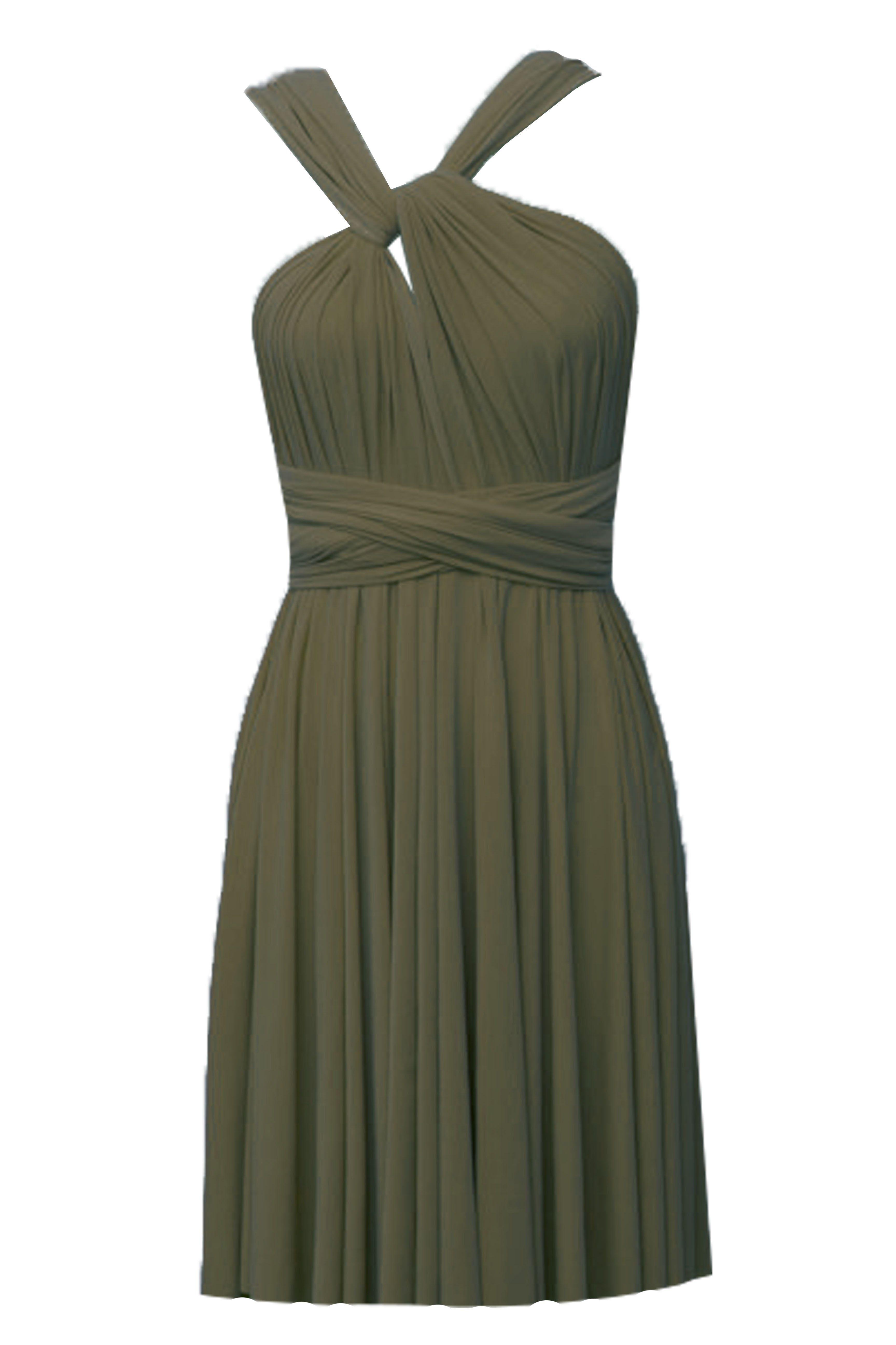 Infinity wrap bridesmaids dress olive green convertible short dress