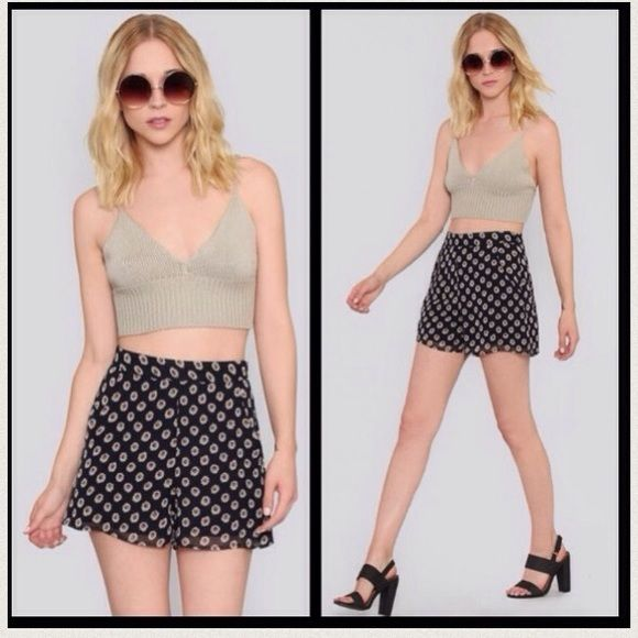 "Nasty Gal High Waisted Daisy Shorts Fully lined navy shorts with daisy print, front side pockets, hidden side zip closure, and banded high waist.  *13"" Length *27"" Waist / 2"" inseam. 100% poly. New with tags. tags: gypsy warrior free people Brandy Melville Alythea Shorts"
