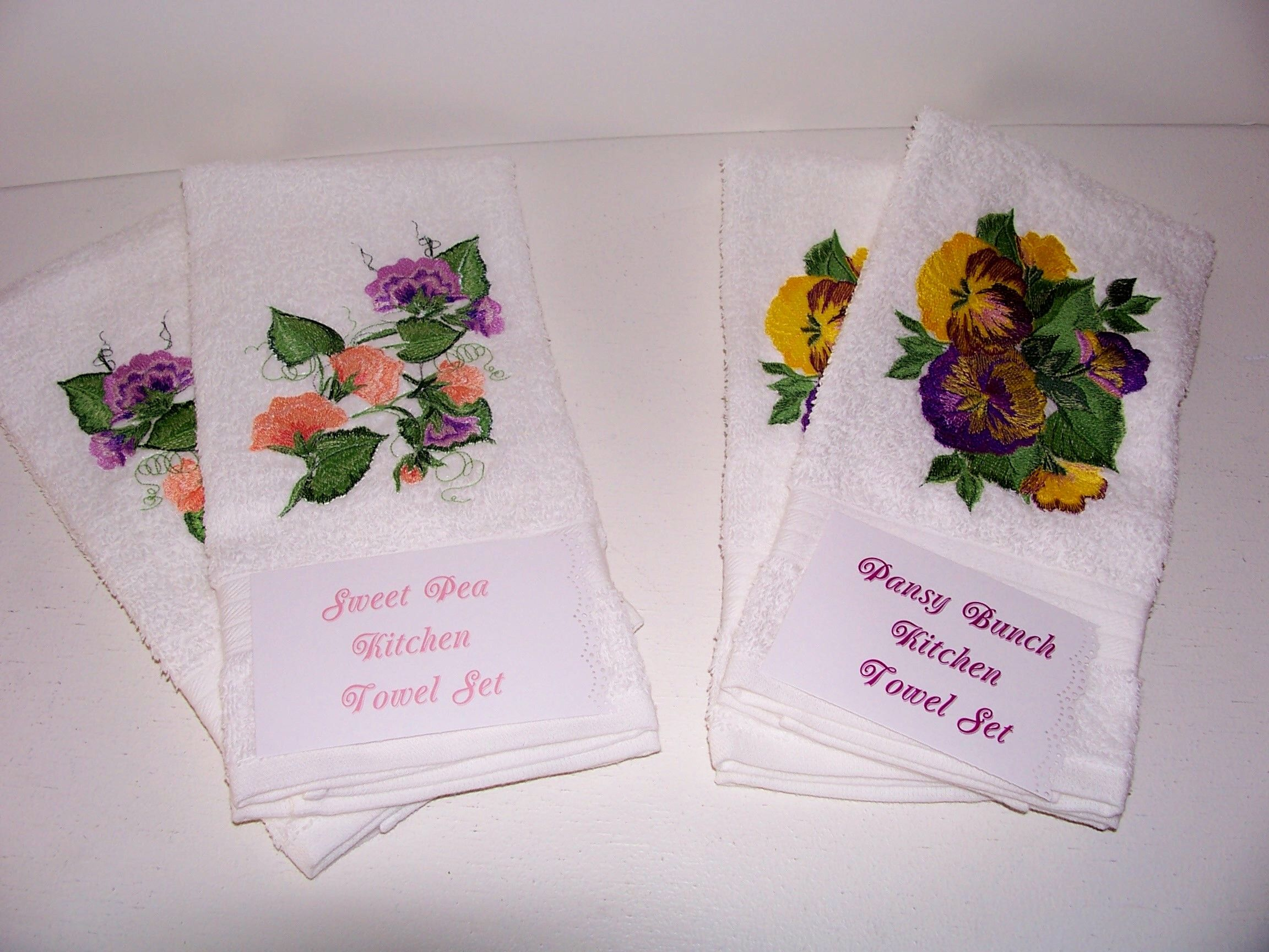 Machine embroidered kitchen towel sets embroidery