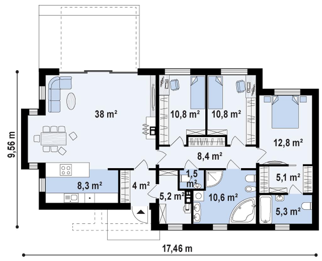 Plano de preciosa casa moderna de 3 dormitorios y 2 ba os for Banos casas modernas