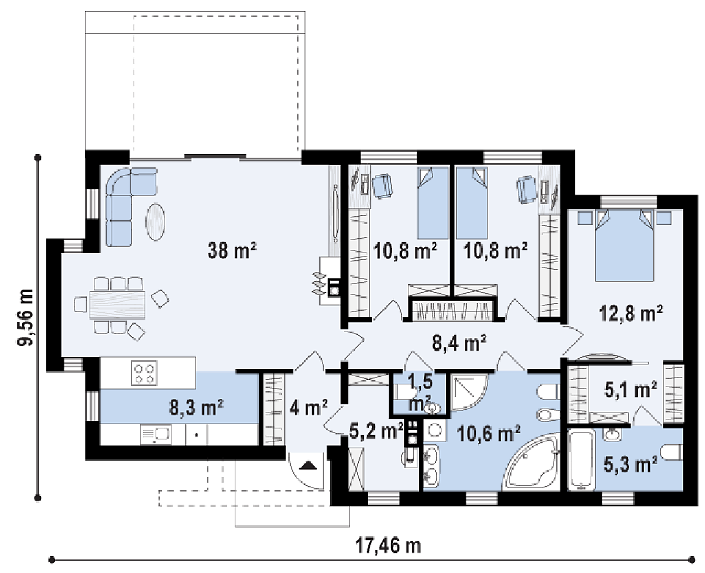 Plano De Preciosa Casa Moderna De 3 Dormitorios Y 2 Banos 4 Planos De Casas Planos De Casas Modernas Casa Moderna