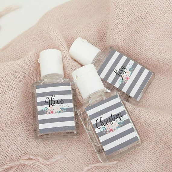 Personalized Hand Sanitizer Stripes Floral Print Pack Of 3 Hand