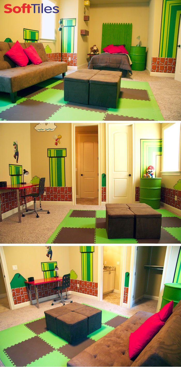 Super Mario themed bedroom/children\'s playroom using 2x2 Foam Mats ...