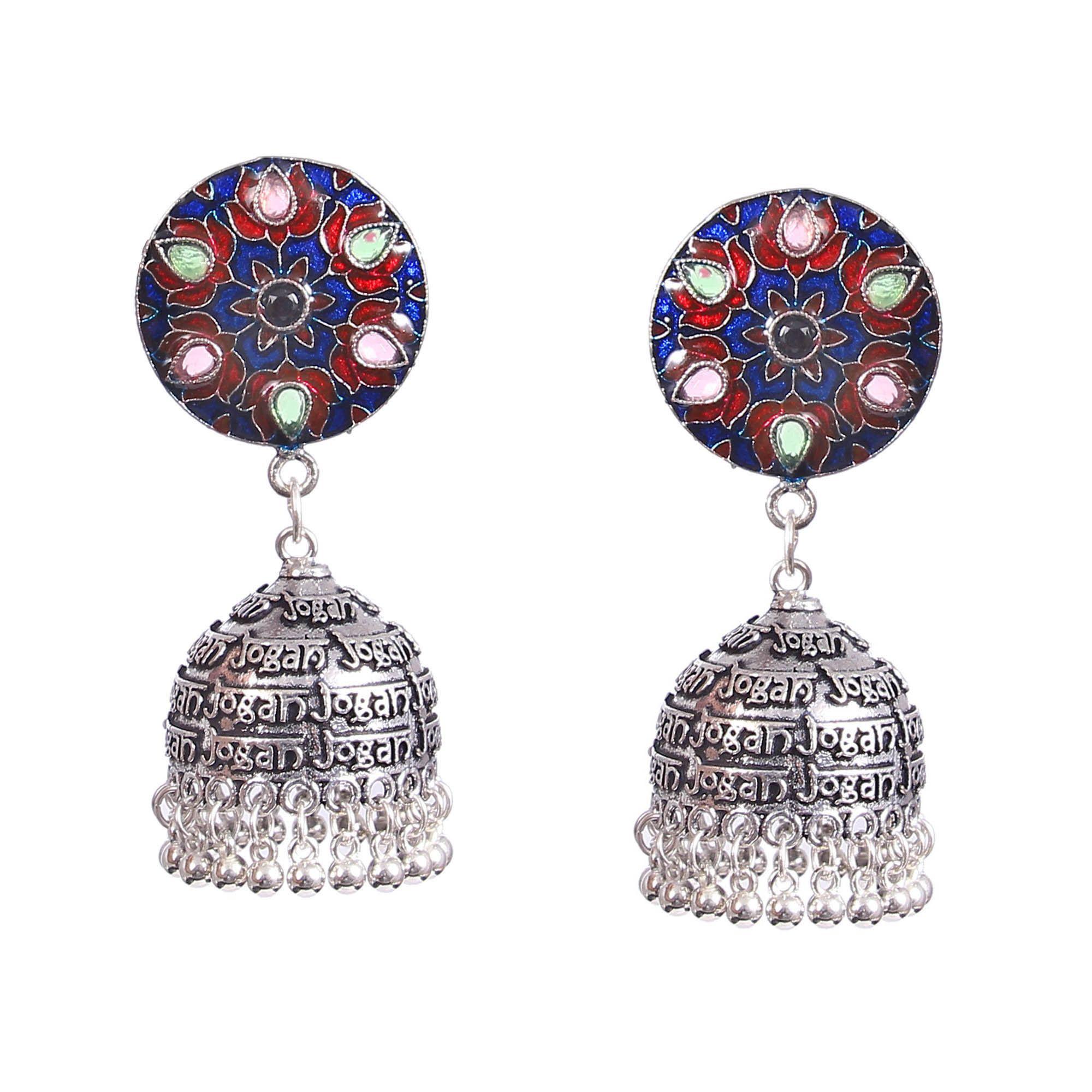 Dangle Earrings Bollywood style earrings. Indian silver plated oxidized earings German silver earrings