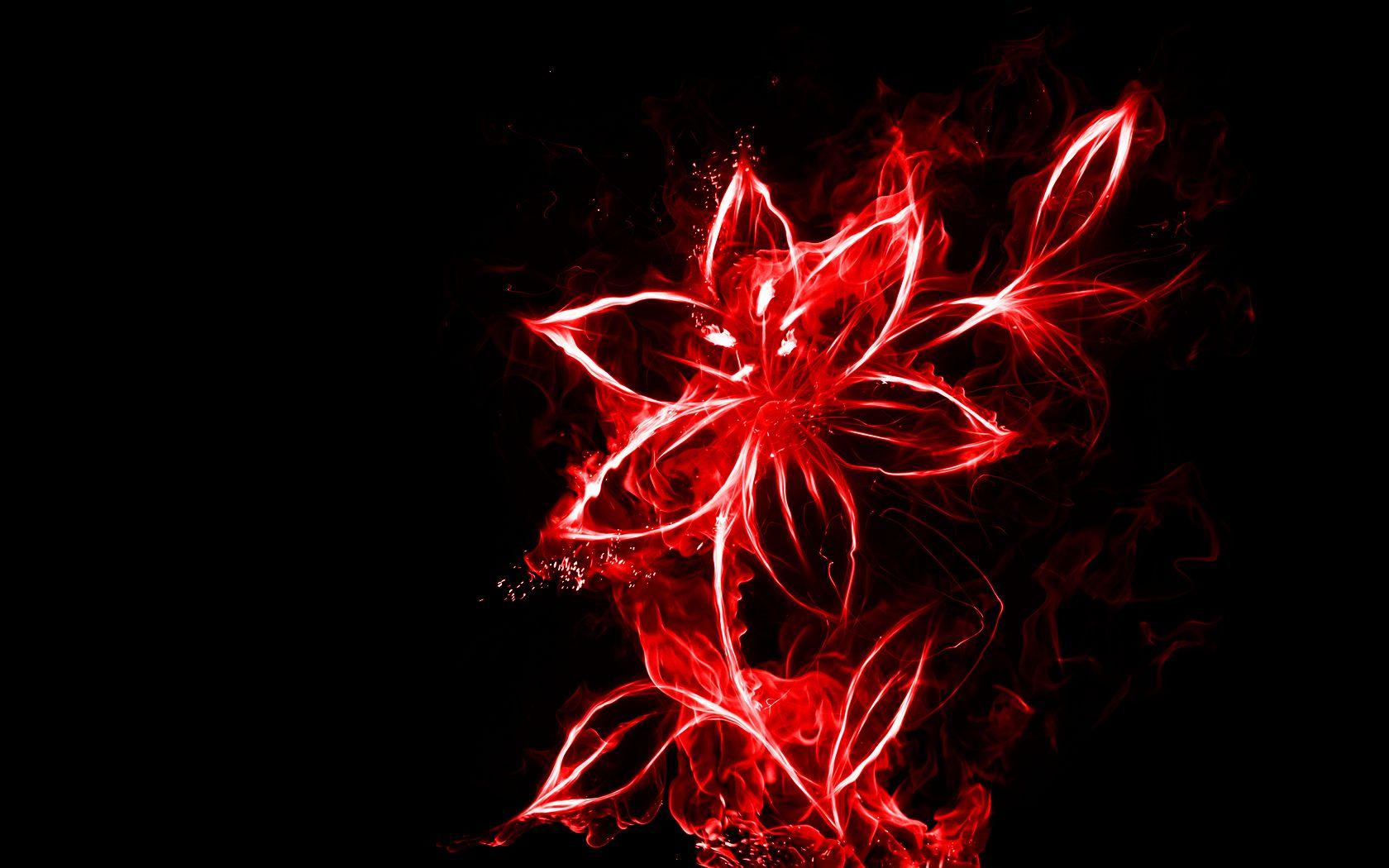 Red Fire Flower Neon Flowers Artistic Wallpaper Neon Wallpaper