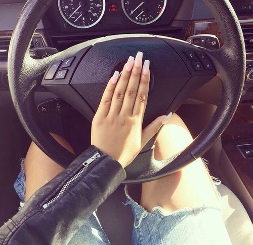 Nails jeans ripped car leather jacket fashion driving