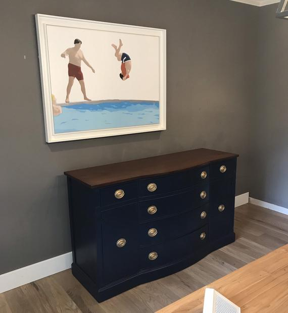 Your Custom Navy Blue Buffet Sideboard Duncan Phyfe Living Room Furniture Painted Buffet Painted Vanity Console Table Paint Furniture Painted Table Painted Vanity Painted Buffet