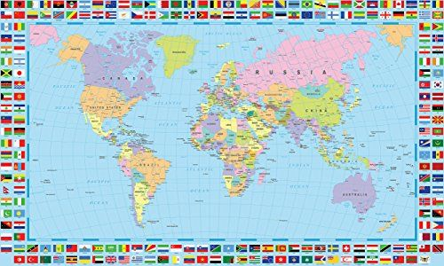 Gifts delight world map poster with country flags 48x24 inches gifts delight world map poster with country flags 48x24 inches laminated hd durable gumiabroncs Images