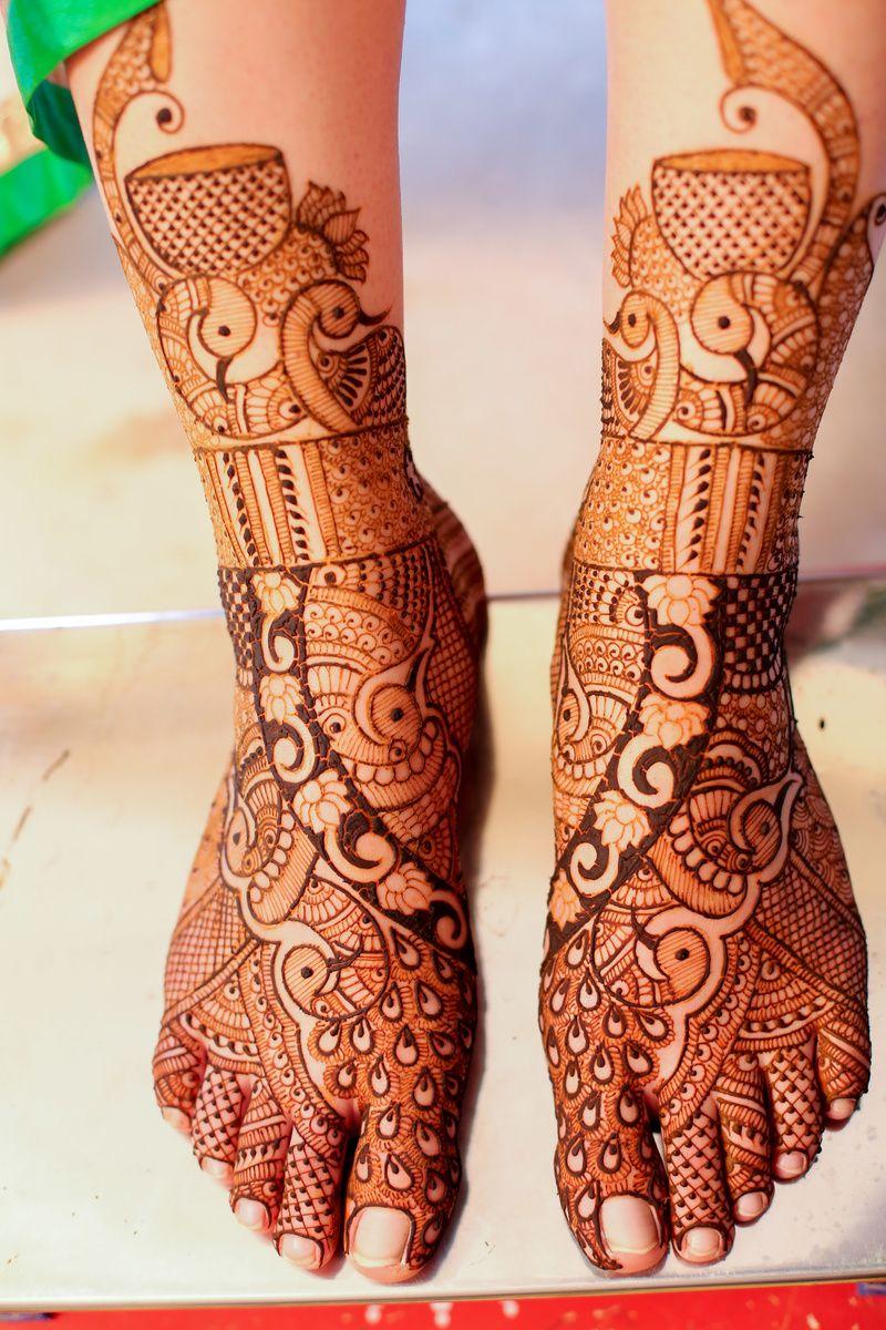Peacock Design Mehendi on Feet
