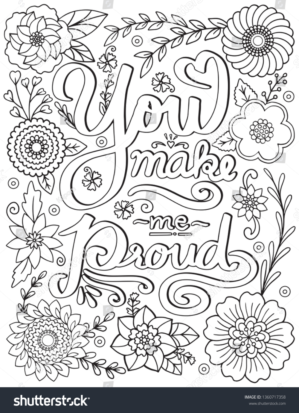 You Make Me Proud Font Flower Stock Vector (Royalty Free ...