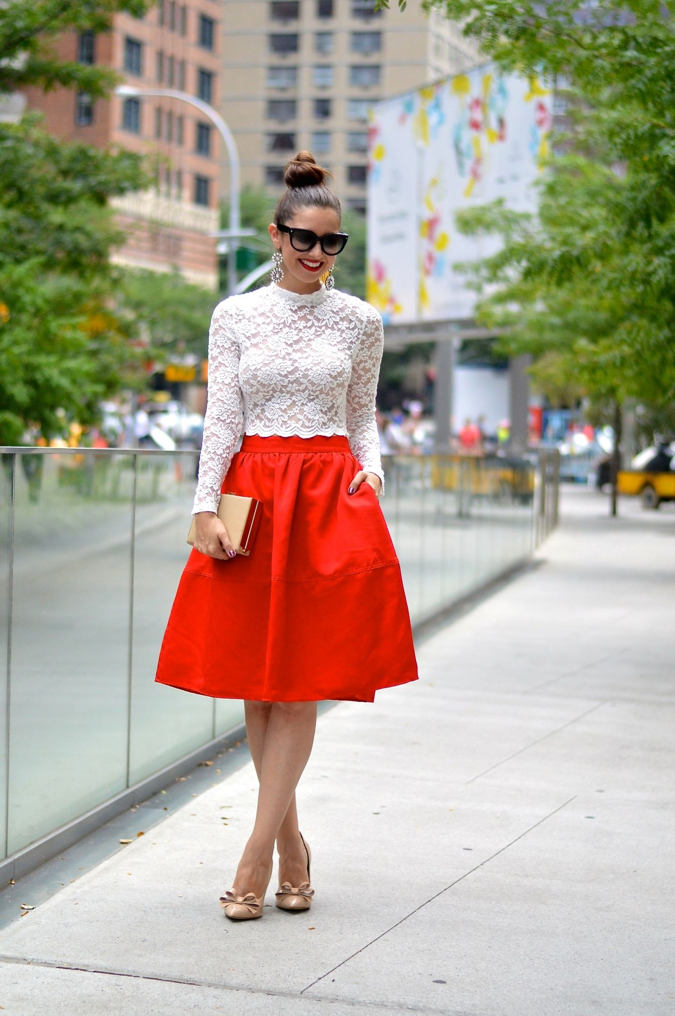 2d3e26da0047 White Lace Crop Top with High Waisted Red Full Midi Skirt & Bow Heels NYFW