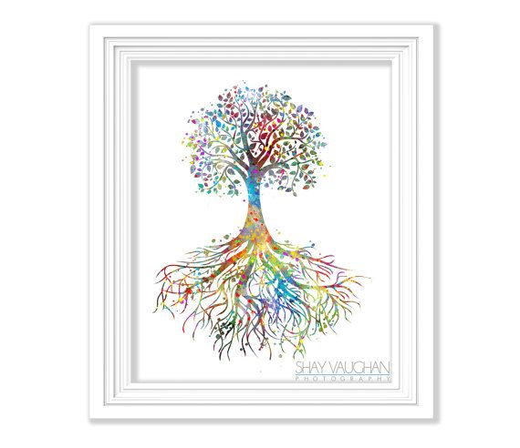 Tree Rooted Family Quote Watercolor Print Wedding Gift Archival Fine Art Print