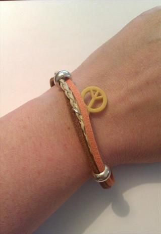 Unisex 3 Strand Leather and Suede Peace Bracelet