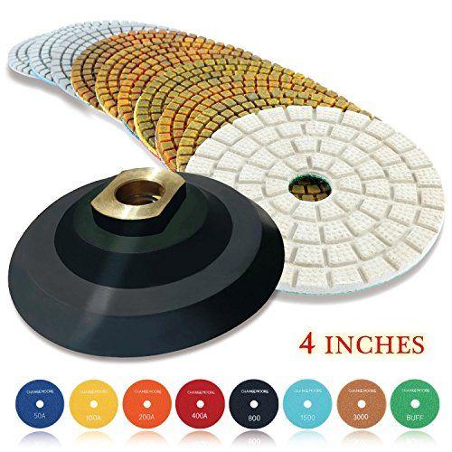 "4/"" Diamond Polishing Pads Sets for Marble Granite Quartz"