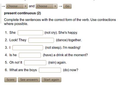 Resultado De Imagen Para Presente Continuo Ejercicios English Course Sentences Reading
