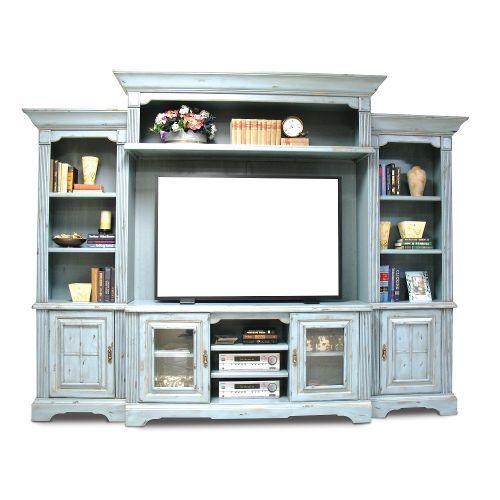 Home Entertainment Furniture Ideas: Slate Blue 5 Piece Vintage Entertainment Center